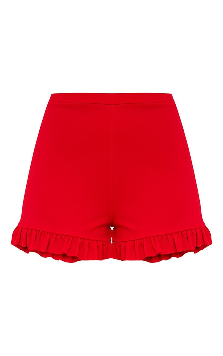 Red Frill ShortsWe are lovin' these insanely cute tailored shorts. Featuring a high waistli...
