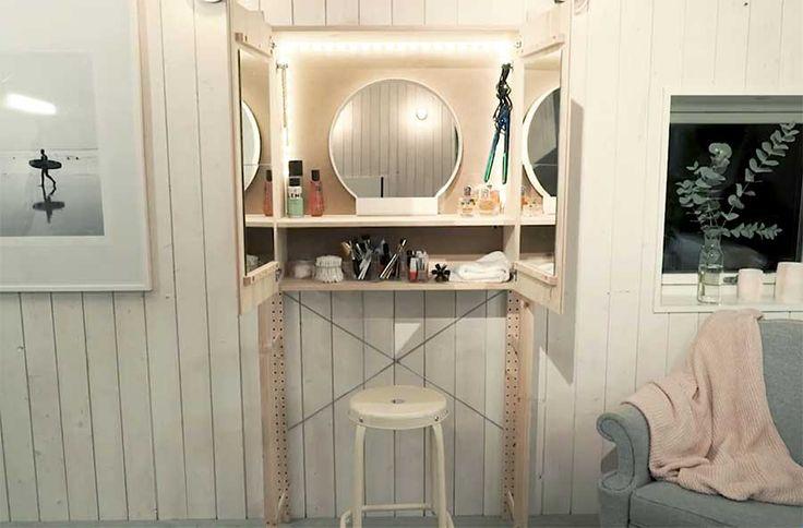 Ett trendigt skåp på utsidan –och ett drömmigt sminkbord på insidan. Slå två flugor i en smäll med det här fina Ikea-hacket –som dessutom är superenkelt att göra själv!