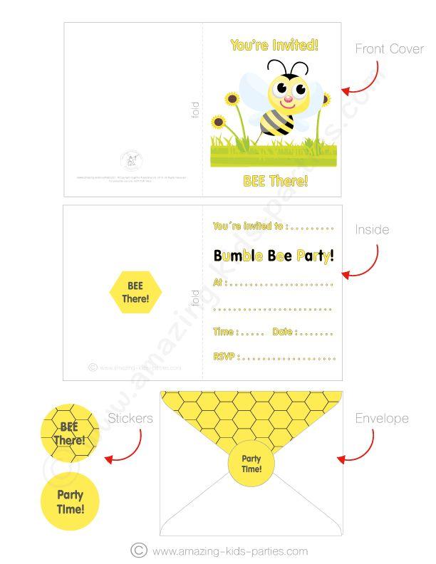 FREE Bee Party Invitation Card Set