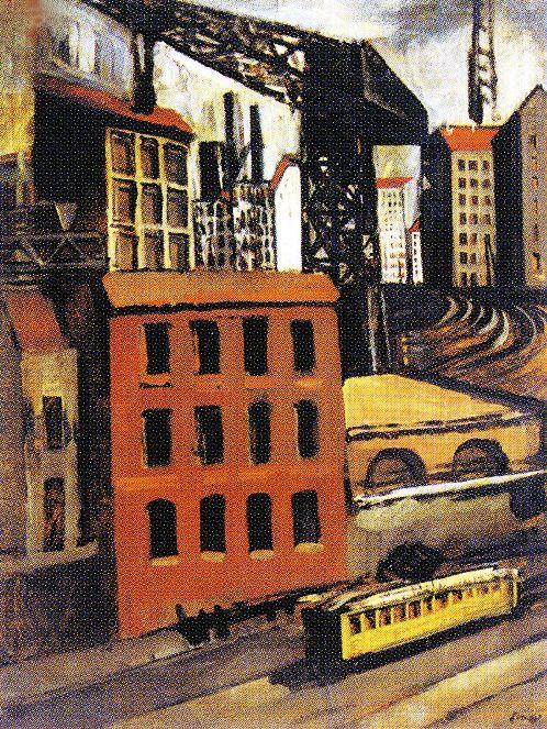 Mario Sironi, Périphérie avec tram et crane, 1921