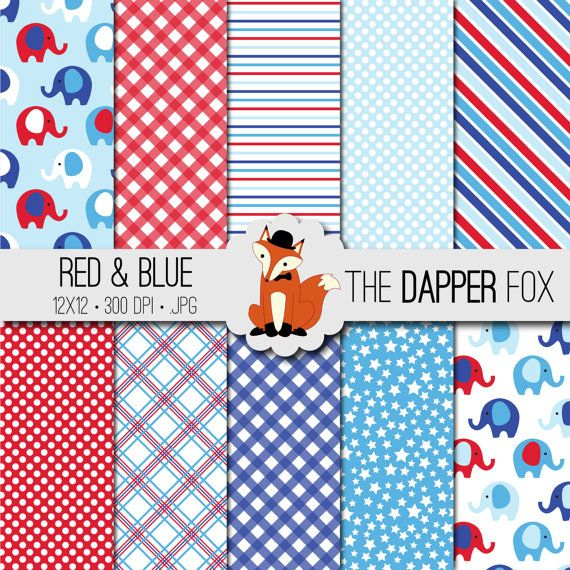 Percalle rosso e Blue Elephant Digital Paper Pack  INSTANT