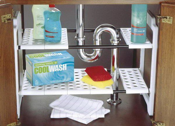 Addis Under Sink Storage Unit. Under sink storage is a problem due to weird plumbing angles. With this storage unit, you can ajust the shelves to fit almost any space.
