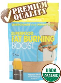 Superfood Fat Buring Boost This delicious blend of exotic, nutrient rich-foods includes green tea, raw cacao — chocolate in its purest form, fresh cinnamon, and turmeric, as well as ginger to reduce dietary discomfort and bloating and chia seeds to fill you up without filling you out.