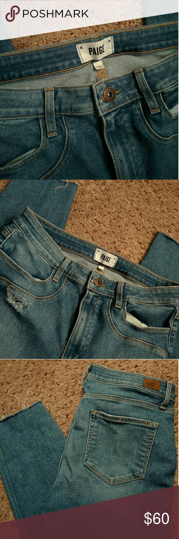 Paige Jeans 🚩🚩 flash sale for 30🚩🚩🚩 Barely worn Paige high waisted ankle cut skinny jeans in a size 31! Very cute to wear a bodysuit or crop top with. One of my favorite jeans ever I just lost weight now they are too big. Paige Jeans Jeans Ankle & Cropped