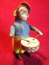 SCHUCO GERMANY GERMAN ANTIQUE WIND UP TOY MONKEY w DRUM