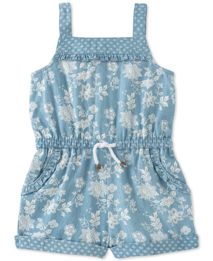 A pretty mix of prints add lovely charm to this Calvin Klein denim romper for baby girl, featuring a button-closure back for quick changes. | Cotton | Machine washable | Imported | Square neck | Sleev