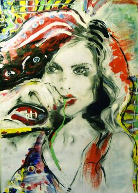"Saatchi Art Artist MP XQS-I; Painting, ""Pop art portrait of a woman chewing jelly sweets "" #art"