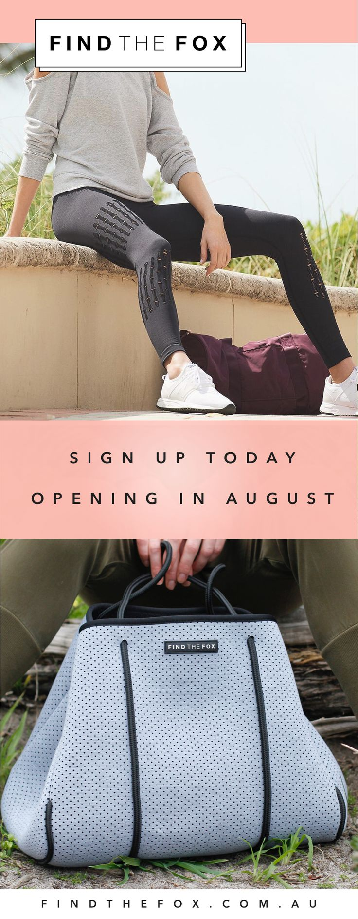 Find The Fox makes stylish neoprene tote bags and other fashionable accessories. Opening in August. Sign up today to receive a discount on your first purchase!