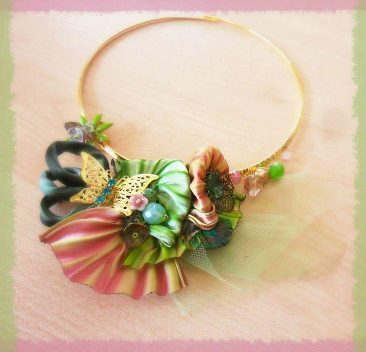 ** Beaded Shibori Silk Necklace Jewelry  By Serena Di Mercione @seesallcolors