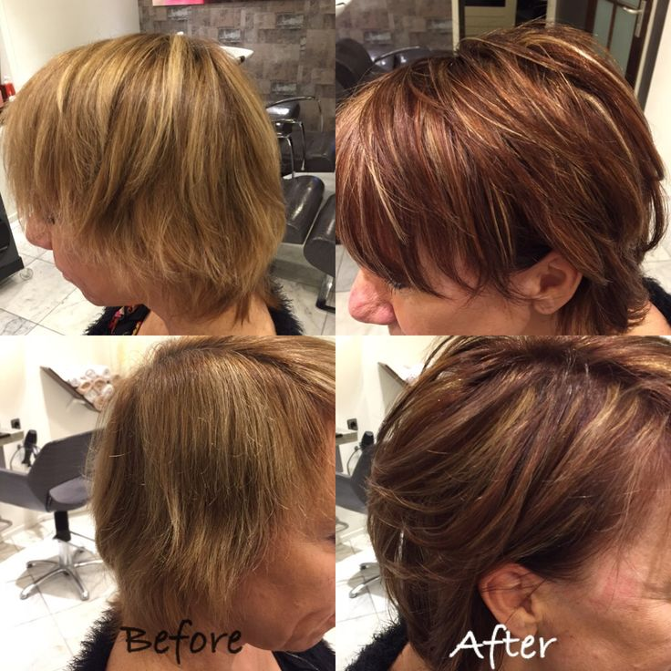 Herfst kleur Before and after coupe soleil met blond koper en bruin tinten