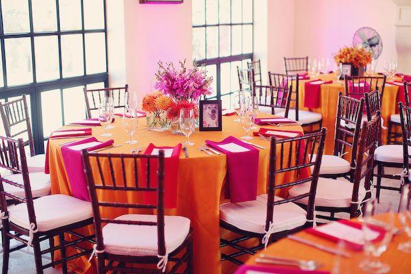 Orange with Pink, rather than Pink with Orange.  Via Bright, Modern Pink & Orange Wedding: Part 2