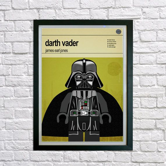Lego Star Wars Darth Vader Framed print Mid by houseofprintsshop
