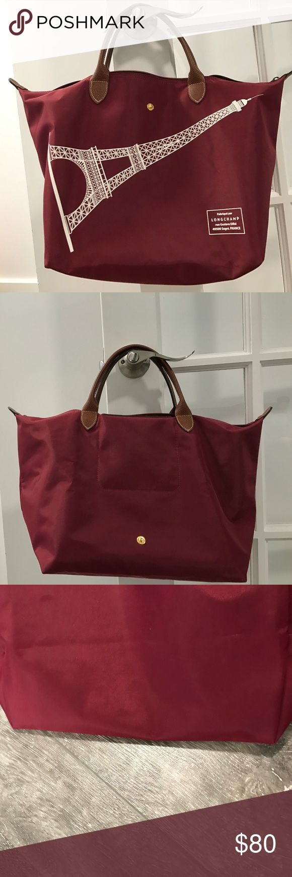 Longchamp Le Pliage Medium Tote in Burgundy color Like New!! Used Once, Exclusive From Paris! Longchamp Bags Totes