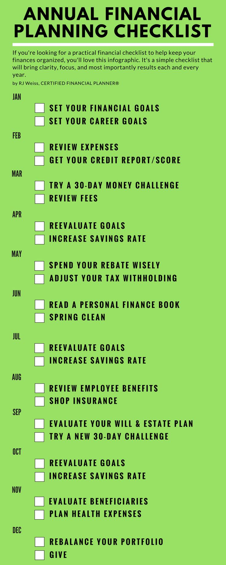 Annual money management printable. Tips, strategies, and tactics for managing your money, budgeting, and investing to maximize your net worth over a calendar year.