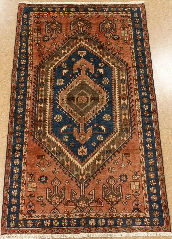 Zanjan Tribal Rug Hand Knotted Wool Terracotta Blue Oriental Carpet 4 1 X 6 8 Persianzanjantribalgeometric Tribal Rug Oriental Carpets Oriental Rug