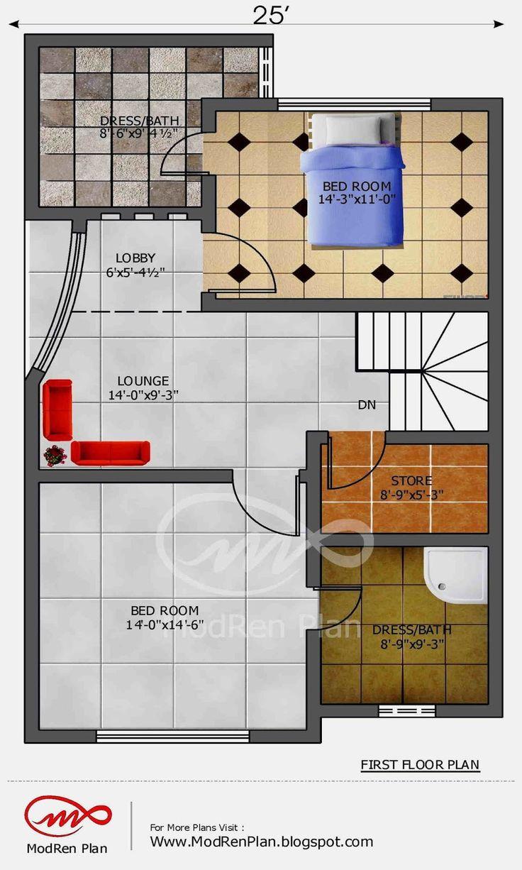 5 marla house plan  1200 sq ft  25x45 feet www.modrenplan.blogspot.com