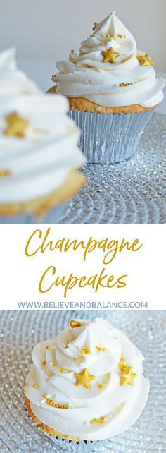 Hosting a New Years Eve party this year? Need a dessert recipe that will WOW your guests? Well, look no further. There's nothing better than to celebrate with your friends, drink champagne at midnight, and indulge yourself with amazing cupcakes! It's a quick and easy dessert that can tie right into the theme of your New Years Eve party. #holidays #party #champagne #christmas #newyearseve #newyears #celebrate