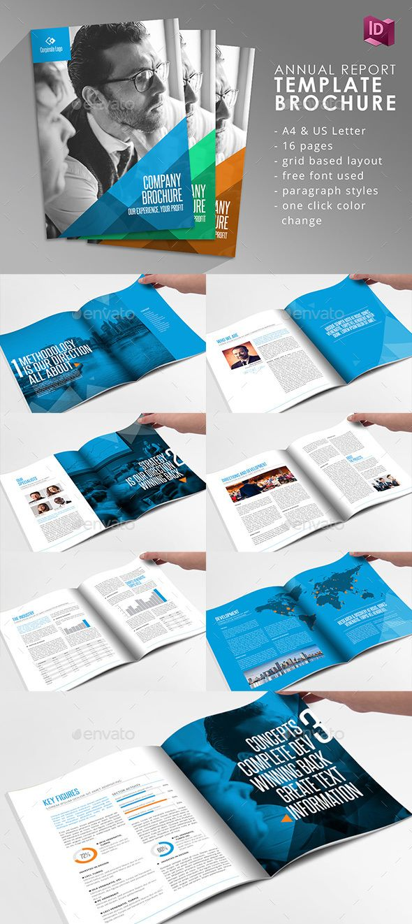 Company brochure adobe indesign template fonts modern for Free brochure indesign template