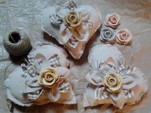 I sogni di stoffa di Erika - Cuori con rose handmade