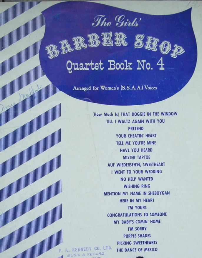 The Girls' Barber Shop Quartet Music Book - Vintage Barber Shop Sheet Music by OfftheShelf2015 on Etsy
