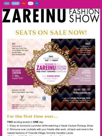 Zareinu Fashion Show...2 great events, 1 great organization!! Check out this Mad Mimi newsletter