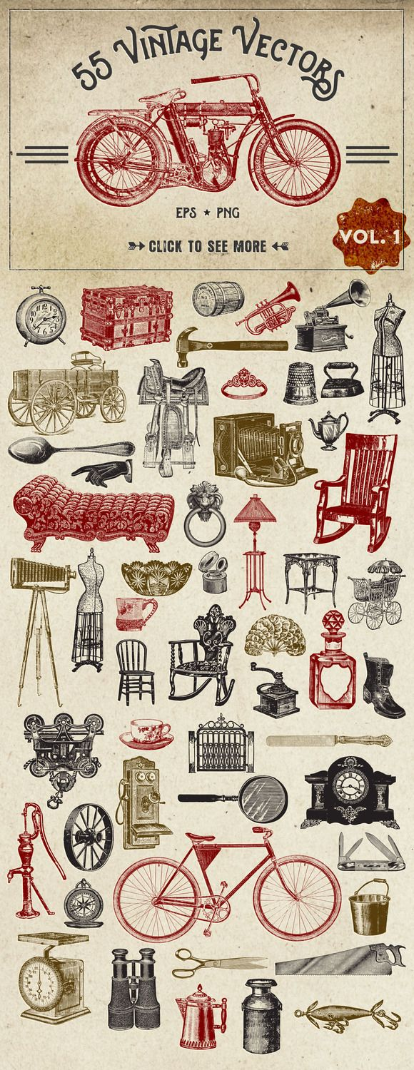55 Vintage Vector Graphics by Eclectic Anthology on @creativemarket                                                                                                                                                                                 もっと見る