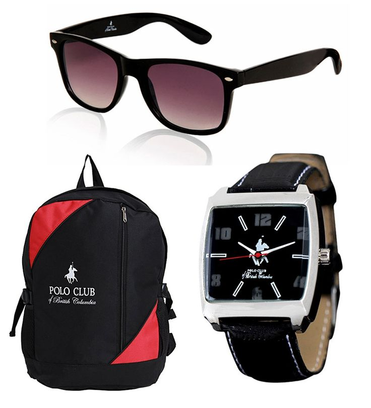 PCBC Combo- Backpack, Wayfarer Sunglasses , Watch at Rs. 829 only ..!!  Hurry up ... !! Grab this offer before it ends ..