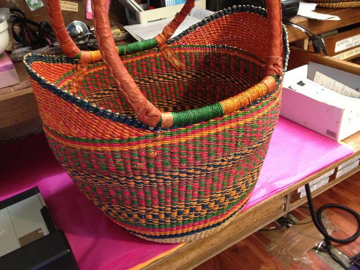 Elephant grass basket - over the shoulder design.  Vibrant summer colours.