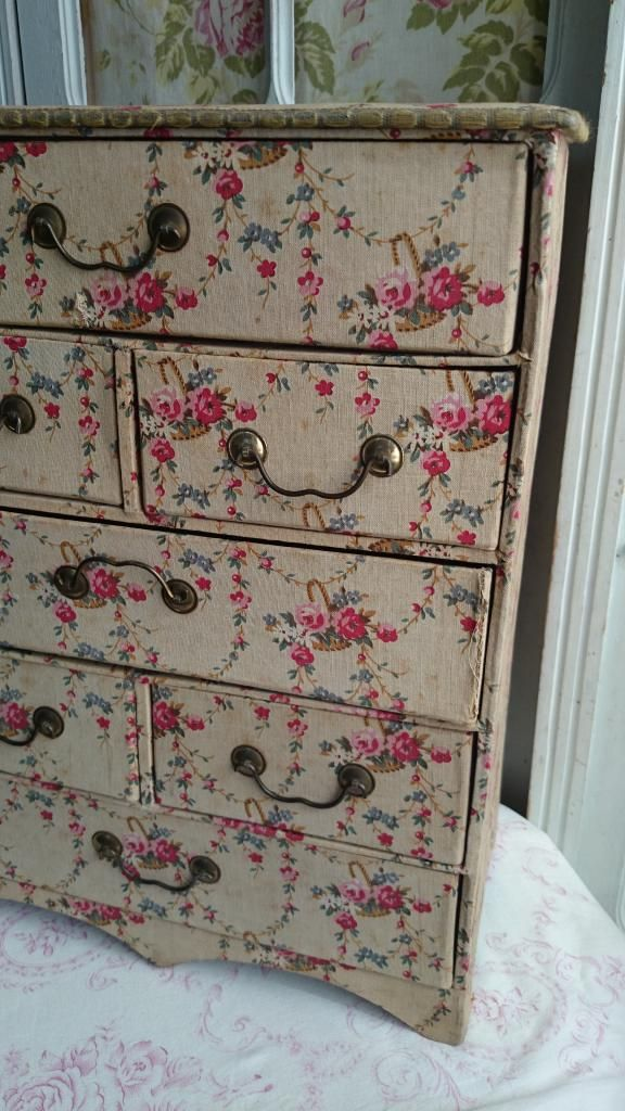 DIVINE ANTIQUE FRENCH BOUDOIR CHEST ROSE BASKETS & GARLANDS TEXTILE c1900 | eBay
