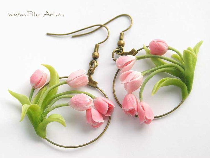Украшения : Весенние серьги с розовыми тюльпанами - Fito Art