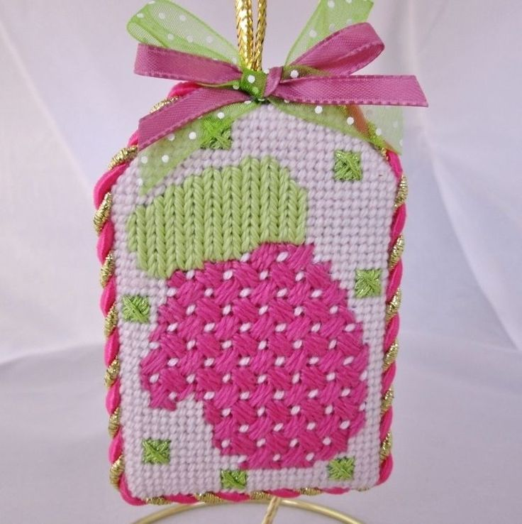 Finished Gorgeous Pink Mitten  Needlepoint Gift Tag Ornament  #handcrafted