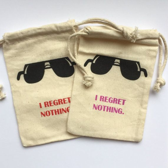 """Bachelorette Hangover Kit Bags- I Regret Nothing- NEW style/color- 4X6"""""""