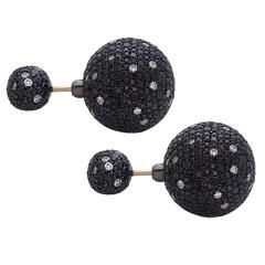 Black and White Diamond Silver Gold Earrings