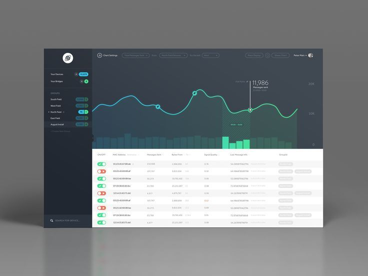 Dribbble - dashboard.png by Peter Main  Example of giving a bog summary up front and still displaying the data below
