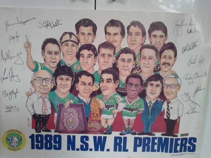 Canberra Raiders poster celebrating the 1989 Grand Final victory.
