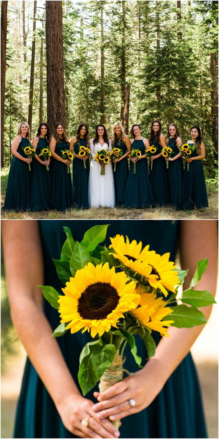 Teal bridesmaids, long dresses, sunflower bouquets // Lauren Lindley Photography