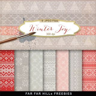 New Freebies Kit of Christmas Background - Winter Joy
