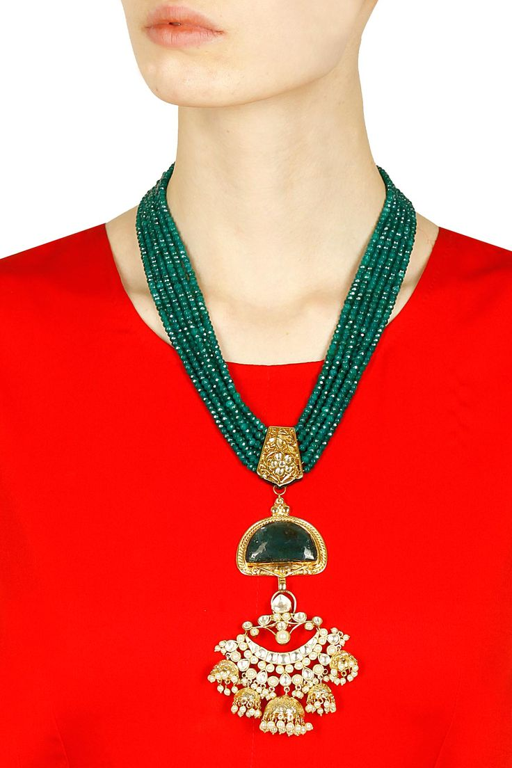 Gold finish multilayer green onyx stone necklace available only at Pernia's Pop Up Shop.