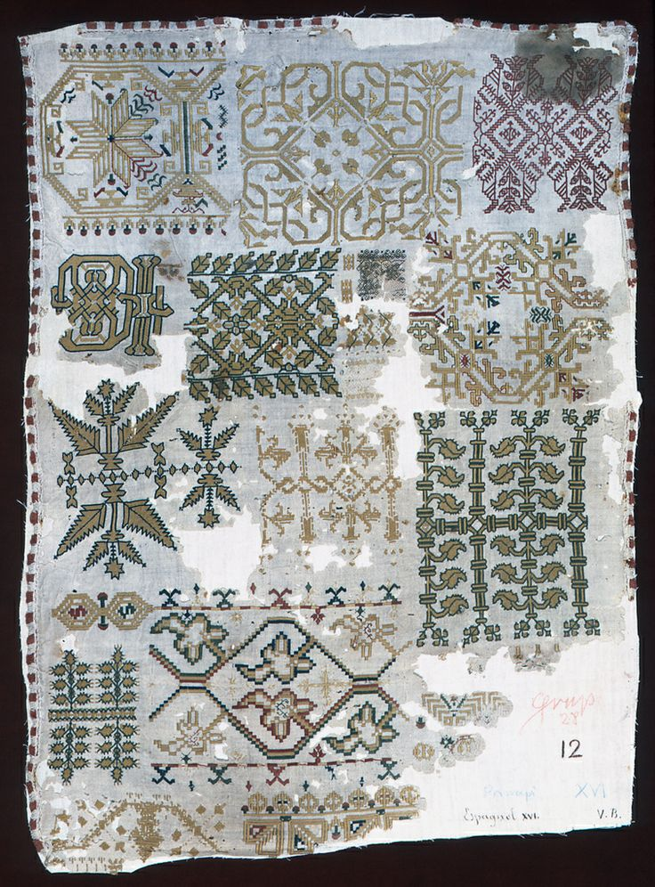 Spanish Sampler ~ 16th century ~ silk and metal-wrapped silk on plain weave linen ~  stitches using silk; satin, cross, running, chain, eyelet, stem, double running, long-armed cross, montenegrin cross. stitches using metal-wrapped silk; chain ~ Gift of John Pierpont Morgan ~ Cooper Hewitt