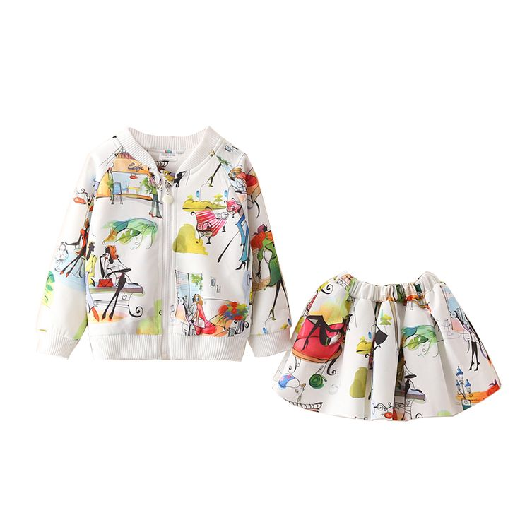 ==> [Free Shipping] Buy Best New Arrival LittleSpring Autumn 2Pcs Toddler Girl Clothes Little Girls Clothing Sets Trendy Print Bomber Jacket Mini Skirt Set Online with LOWEST Price   32733092927