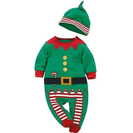 Patgoal Baby Mädchen Weihnachten Kleidung Weihnachtskostüm Strampler+Hüte: Amazon.de: Bekleidung