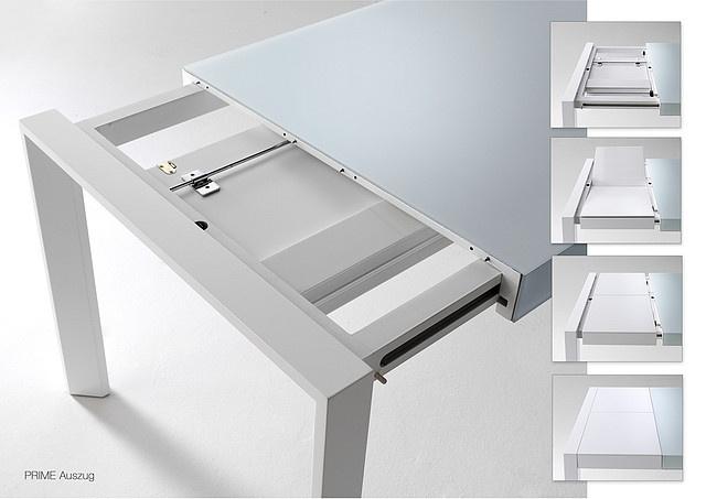 mechanizm, rozsuwanie z boku na prowadnicach| ART 160 210 Isa - stół lakier& szkło  biały czarny orzech buk