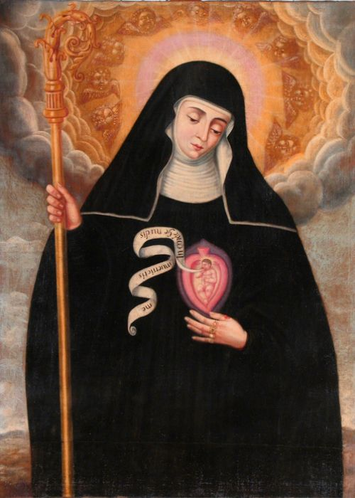 Saint Gertrude the Great, invoked for souls in purgatory ... Shift+R improves the quality of this image. Shift+A improves the quality of all images on this page.