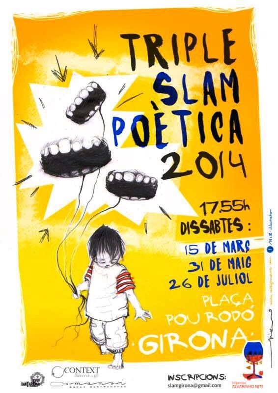 Cartell per la Triple Slam Poètica 2014 de Girona! #nirilllustration #illustration #slampoetica