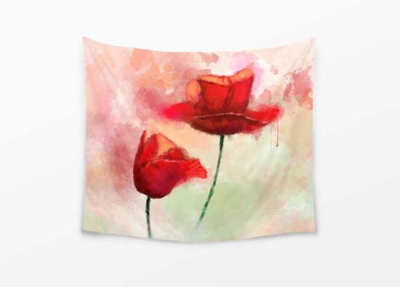 Visit my Shop to use this coupon code for 20% off: XMAS16 --- Until 7th December 2016. --- WALL TAPESTRY Watercolor Poppies Painting Large Wall Decor Hot Red Tapestry Cozy Tapestry For Her Poppy Watercolor Painting Tapestry by DrawingIllustration