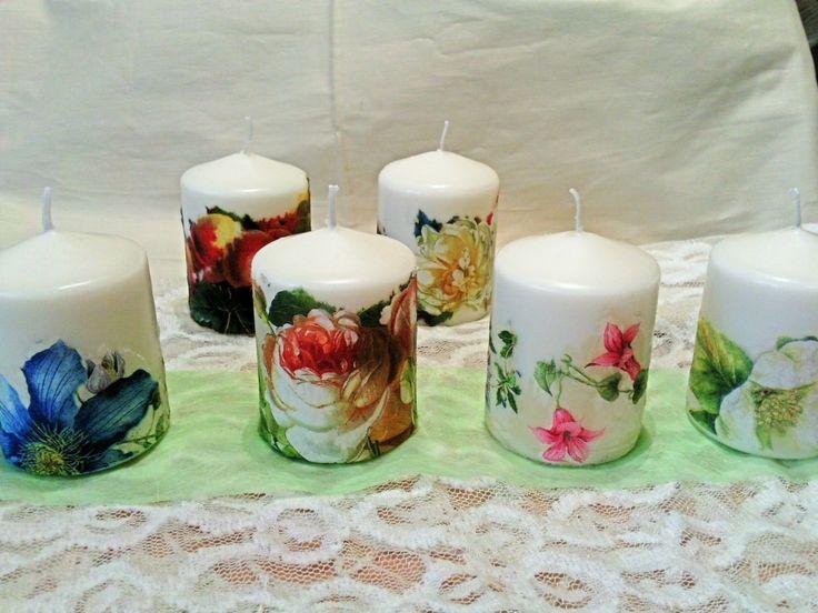 velas decoradas con la tcnica decoupage