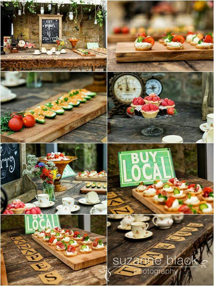 Food by Hatter's catering styling by Through the Looking Glass Scotland. @2thlookingglass.  Local food. Rustic food style. Wedding platters. Wooden boards. Canapes.