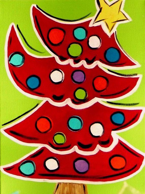 Funky Christmas Tree Painting