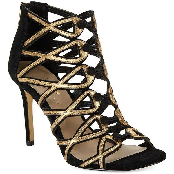 424 Fifth Women's Gizelle Suede Cage Heels ($129) ❤ liked on Polyvore featuring shoes, pumps, black gold, black cage shoes, black pumps, black suede shoes, black open toe shoes and open-toe pumps