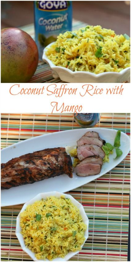 This rice is amazing!  We loved it.  Coconut Saffron Rice with Mango - Healthy, Low Calorie, Low Fat Side Dish